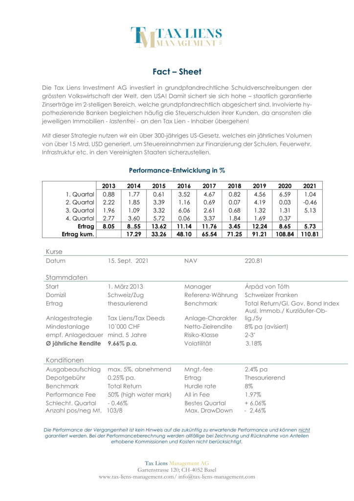 Tax Liens Informationsblatt